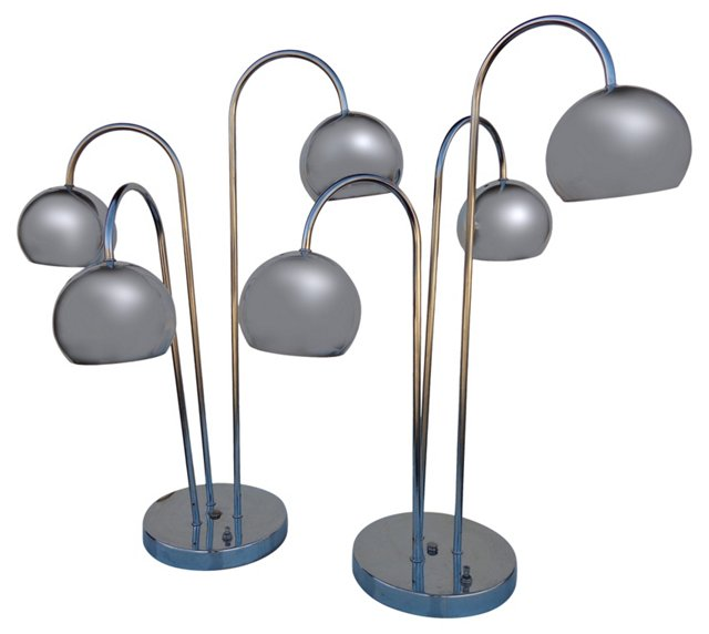 Chrome Ball Lamps, Pair