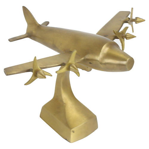 1940s Art Deco Prop Airplane on Stand