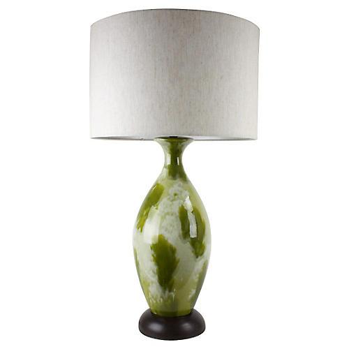 Mid-Century Modern Green Drip-Glaze Lamp