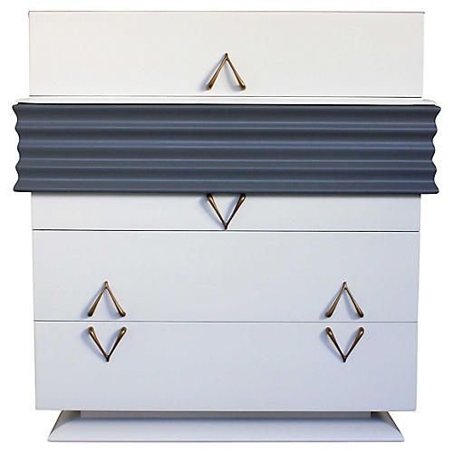 Art Deco Bespoke White & Gray Dresser