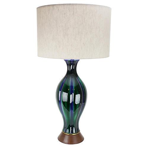 Mid Century Mod Drip-Glaze Ceramic Lamp