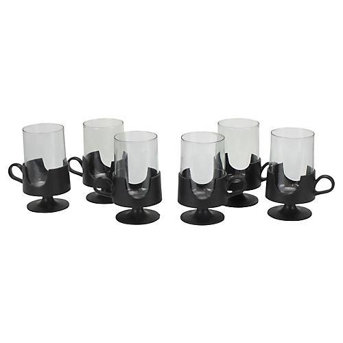 Midcentury Glass Bistro Mugs, S/6