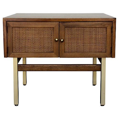 Walnut & Brass Cabinet End Table