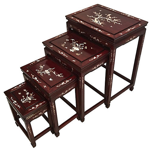 Chinese Rosewood Nesting Tables, S/4