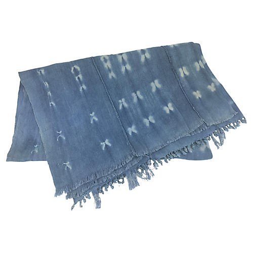African Indigo Mud Cloth Throw