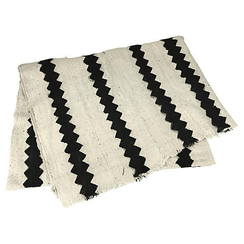 African White & Black Zig Zag Throw