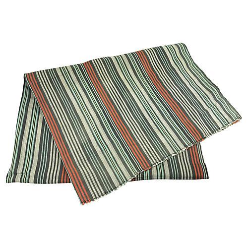 African Striped White/Orange Baule Throw