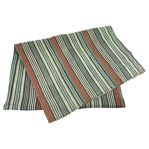 African Striped White/Orange Baule Throw