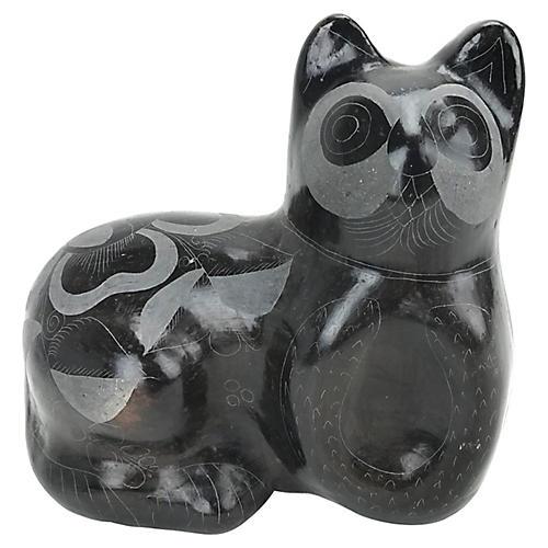 1970s Hand-Etched Ceramic Cat