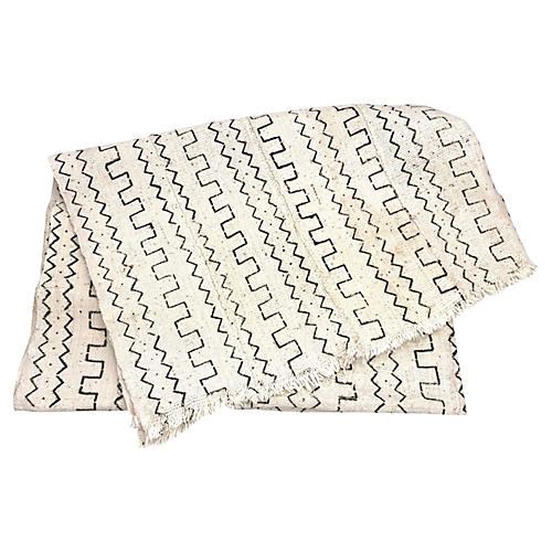 African White/Black Mud Cloth Throw