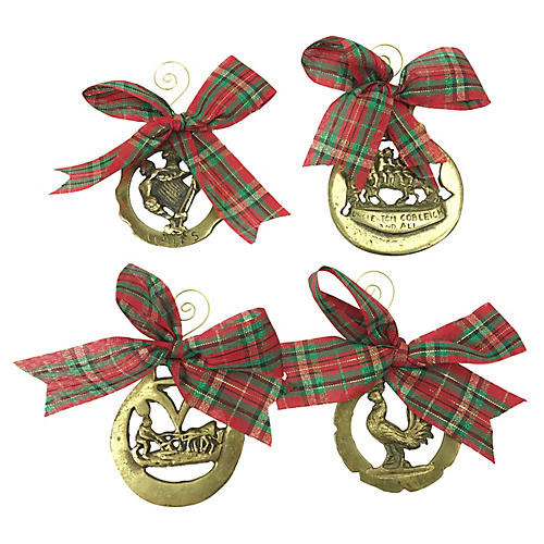 English Horse Brass Ornaments, S/4