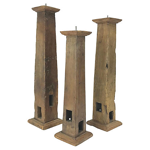 Architectural Element Candleholders, S/3