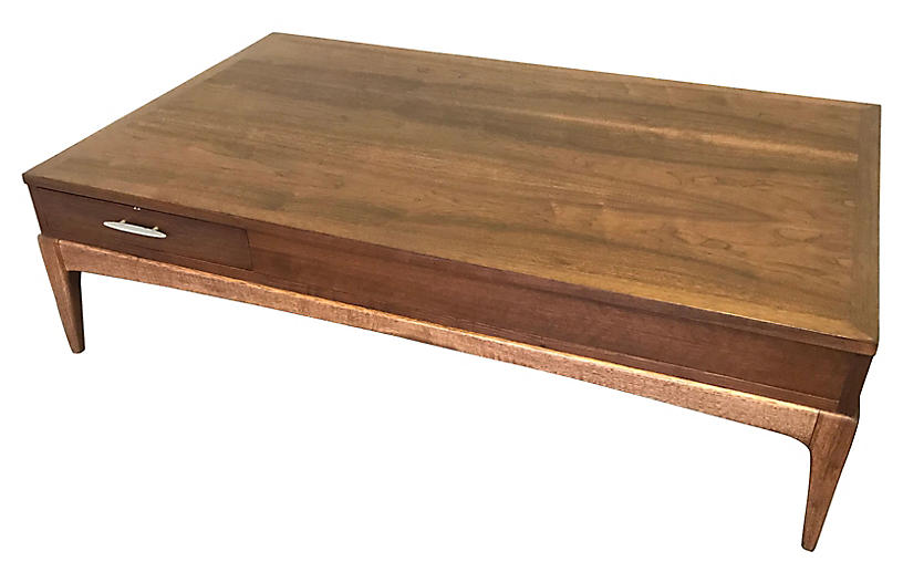 Large-Scale Walnut Coffee Table by Lane