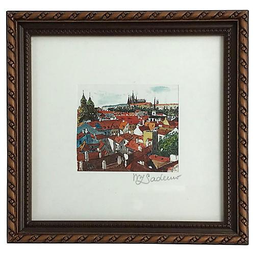 Framed Prague Rooftops Print