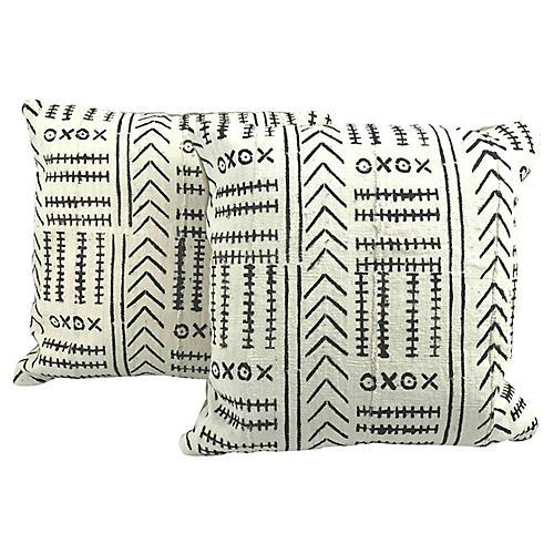 African Mud Cloth Pillows, Pair
