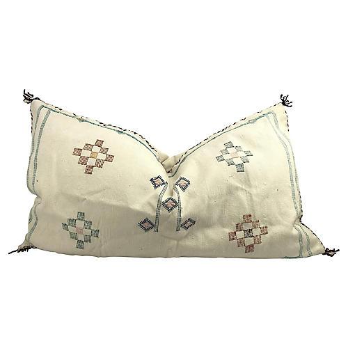 Moroccan Sabra Silk Ivory Lumbar Pillow