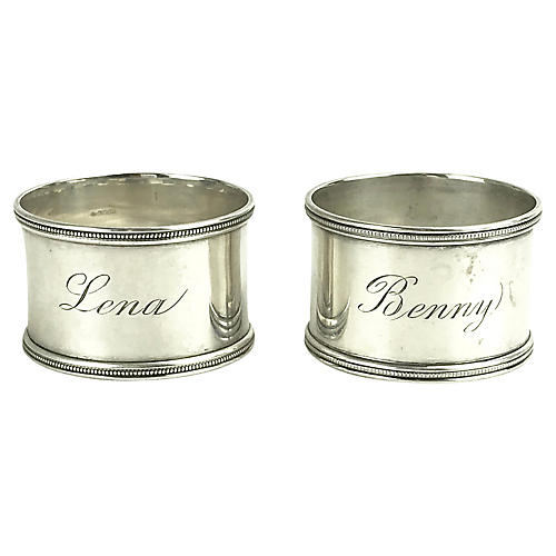 Sterling Silver Napkin Rings, Pair