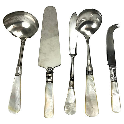 Mother-of-Pearl & Sterling Utensils, S/5
