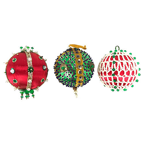 Hand-Made Beaded Push-Pin Ornaments, S/3