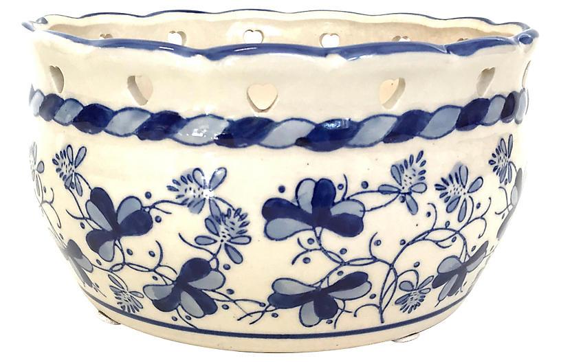 Cobalt & White Porcelain Planter