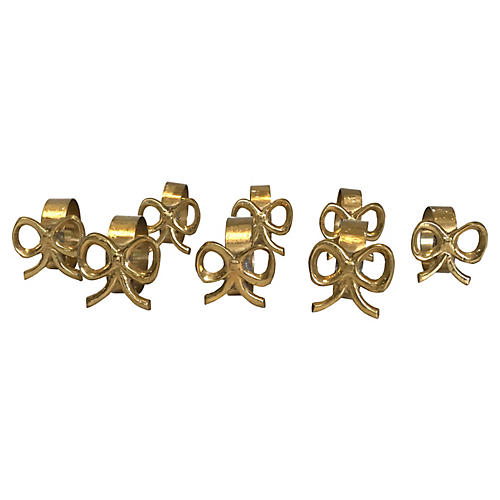 Brass Bow Napkin Rings, S/8
