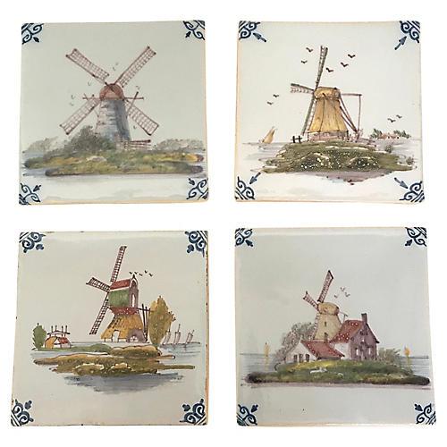 Dutch Delft Royal Tichelaar Tiles, S/4