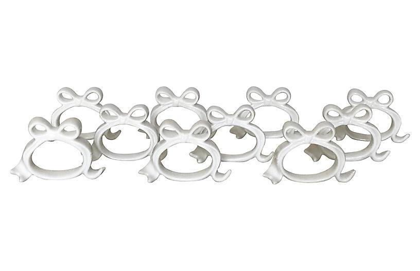 Porcelain Bow Napkin Rings, S/10