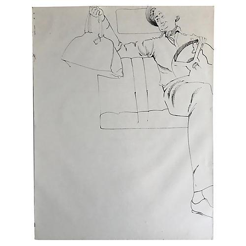 1970s Figure Drawing Sketch of Man