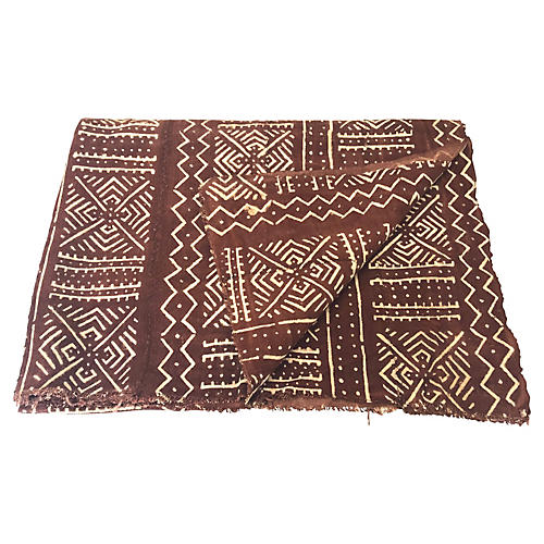 African Brown & White Mudcloth Throw