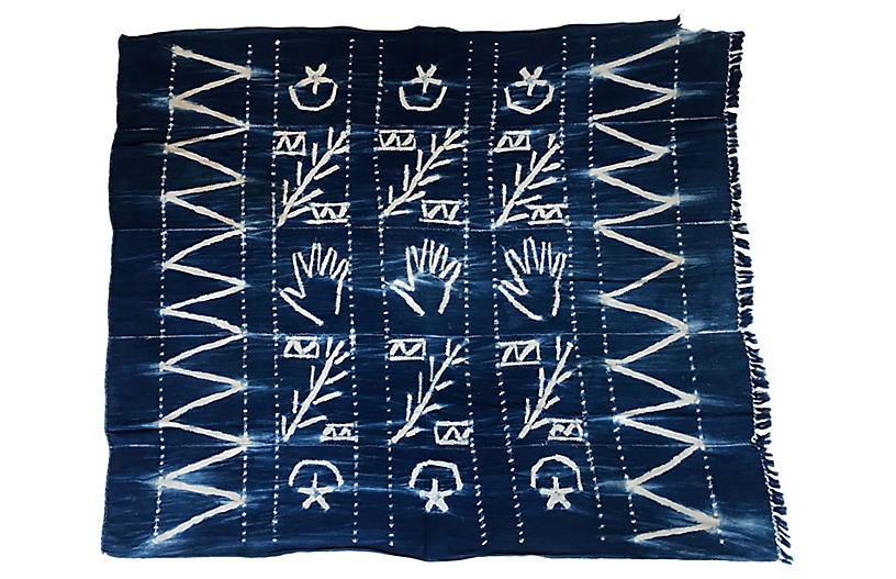 African Indigo Hand-Made Textile Throw