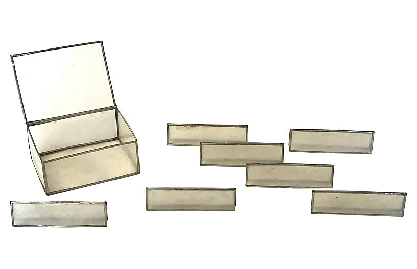 Capiz Shell Place Markers w/ Box, 8 Pcs