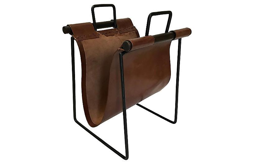 Iron & Leather Sling Magazine Rack