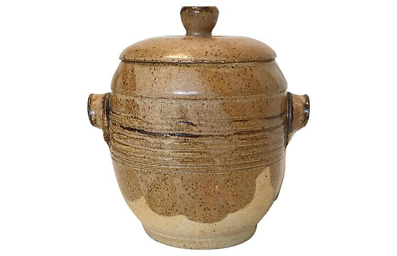 Hand-Thrown Stoneware Lidded Vessel