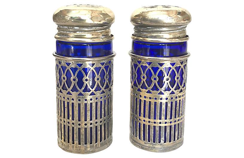 Silverplate/Sapphire Glass Salt & Pepper