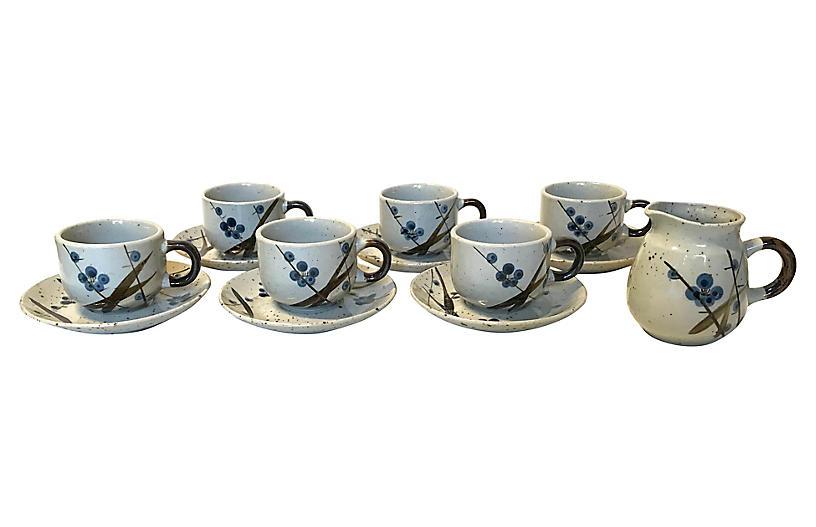 1970s Stoneware Coffee/Tea Set, 13 Pcs