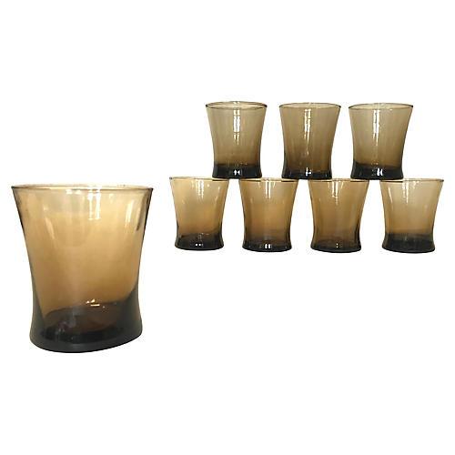Libbey Smokey Brown Lowball Glasses, S/8