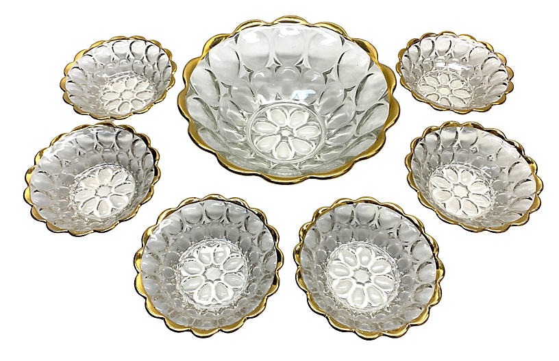 Gold-Plated Bubble Glass Bowls, S/7