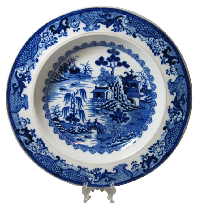 Staffordshire Blue Transfer Soup Plate