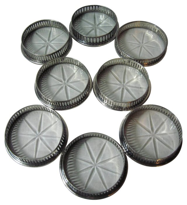 Silverplate & Lucite Coasters, S/8