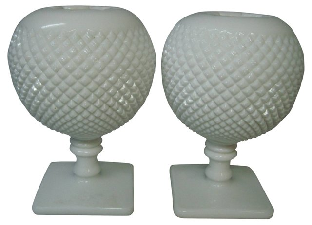 Milk Glass Diamond Point Vases, Pair
