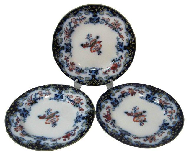 Minton Flow Blue Polychrome Plates, S/3