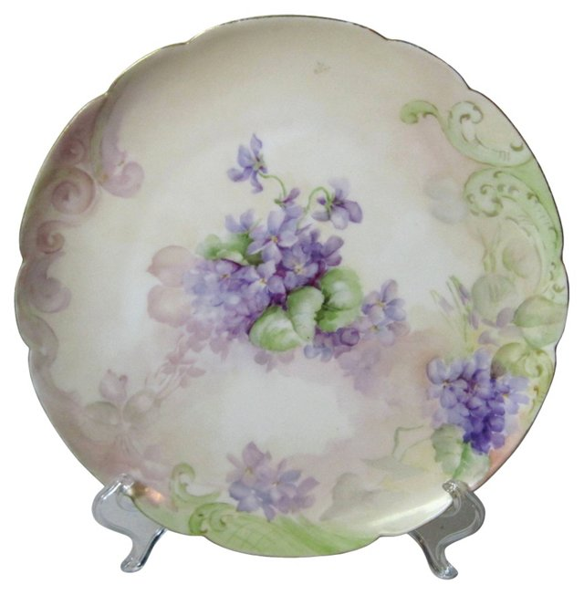 Haviland Hand-Painted Violets Plate