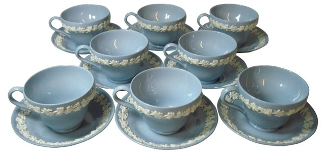 Wedgwood Cups & Saucers, S/8