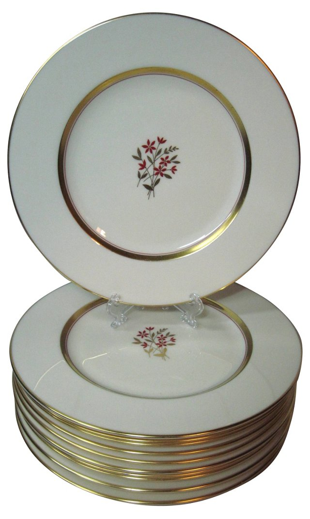 Lenox Red & Gold Plates, S/12