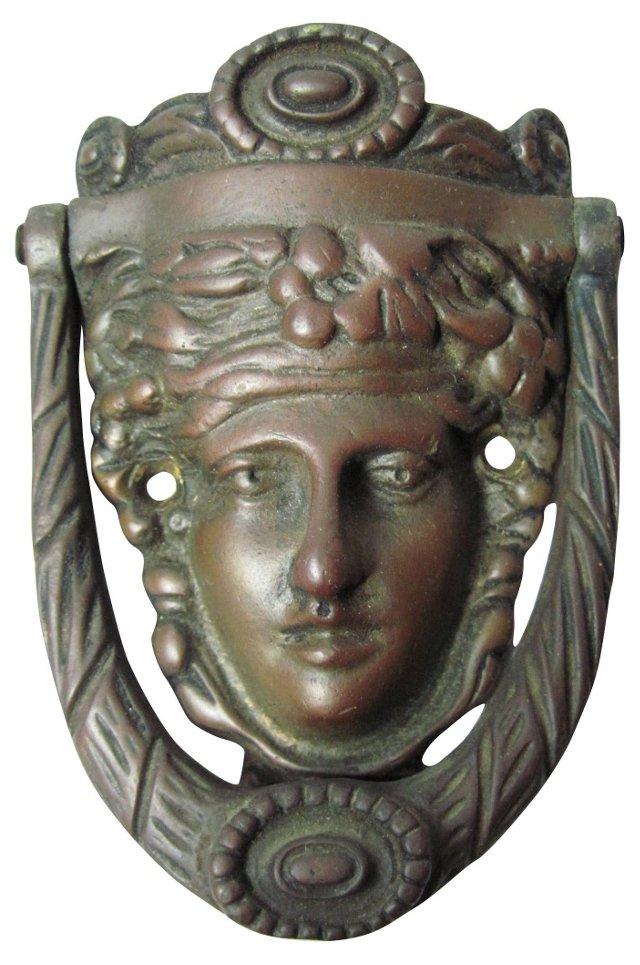 English Bronze Lady Door Knocker
