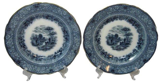 Flow Blue Salad Plates, Pair