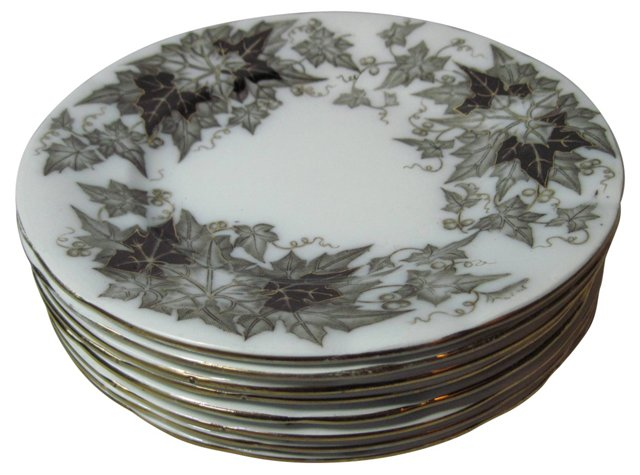 French Mulberry Leaf Lunch Plates, S/8