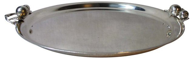 Silverplate Figural Apple-Handled Tray