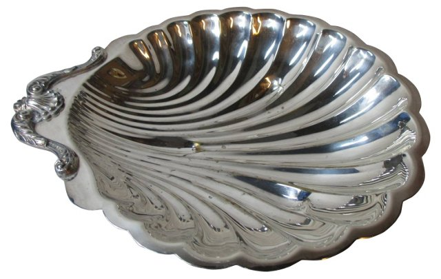 Silverplate     Shell Serving Dish