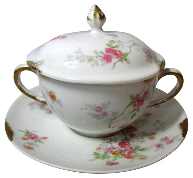 Limoges Roses Soup Cup & Saucer